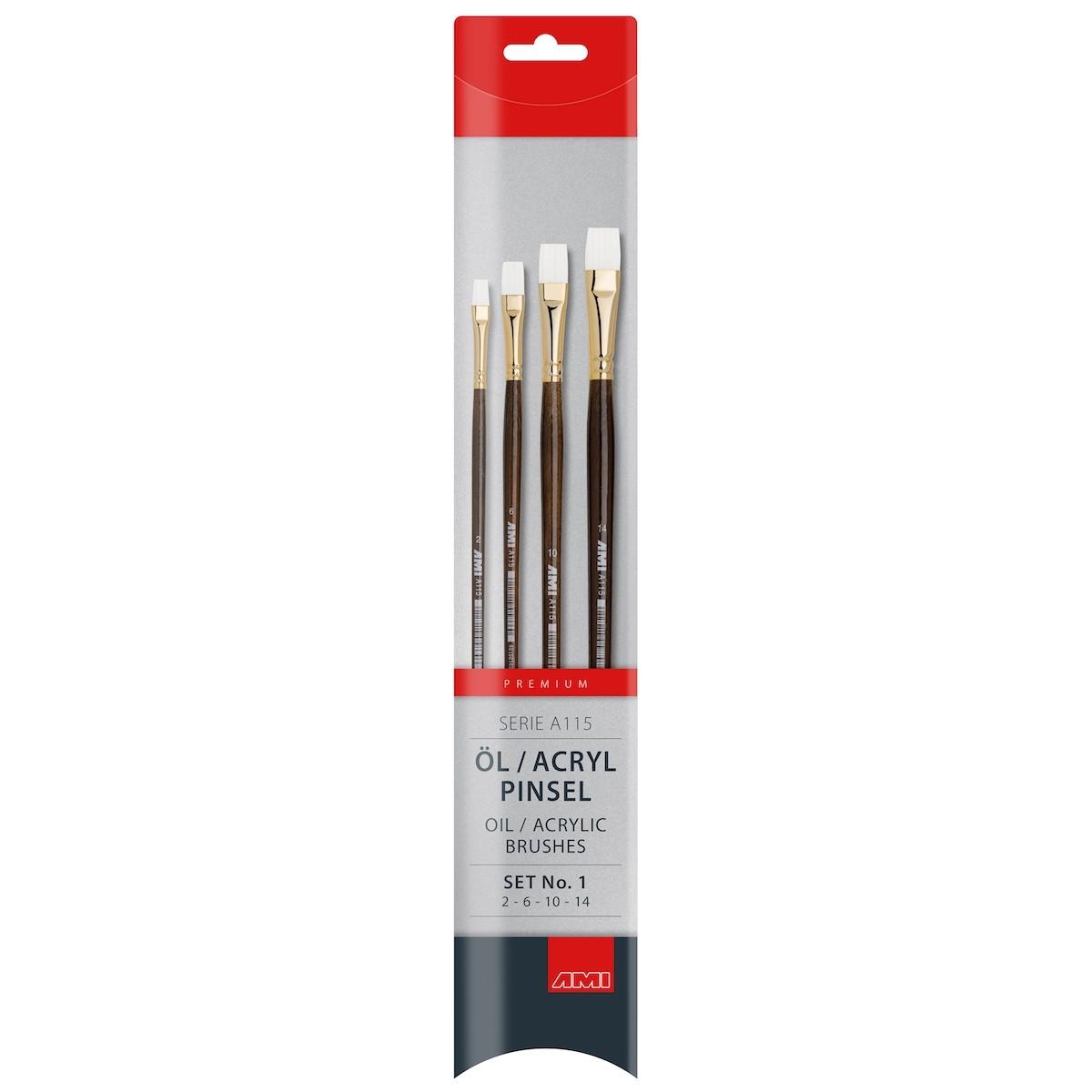Flad pensel, syntetisk, sæt, A115-1