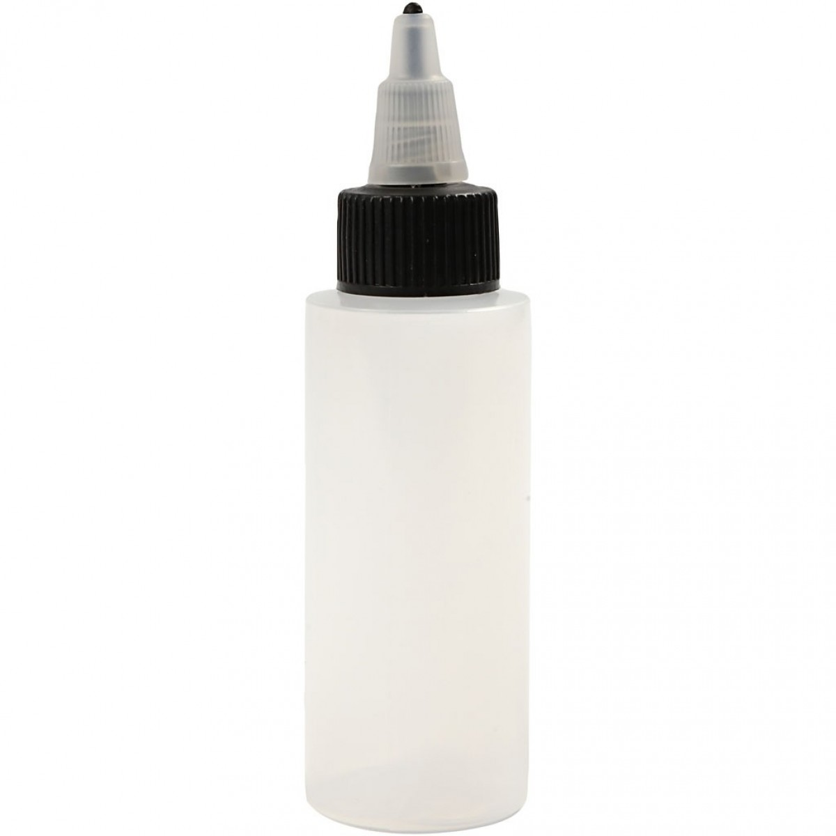 Tegneflaske, plast, skrue spids, 60 ml. (tom)