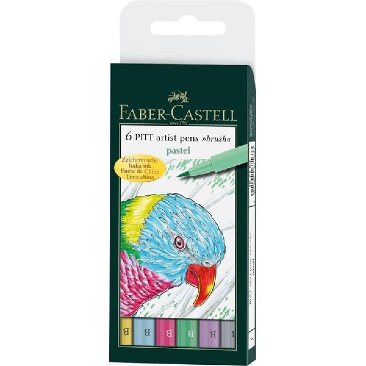 Faber Castell, Pitt artist pen, brush, 6 stk., Pastel