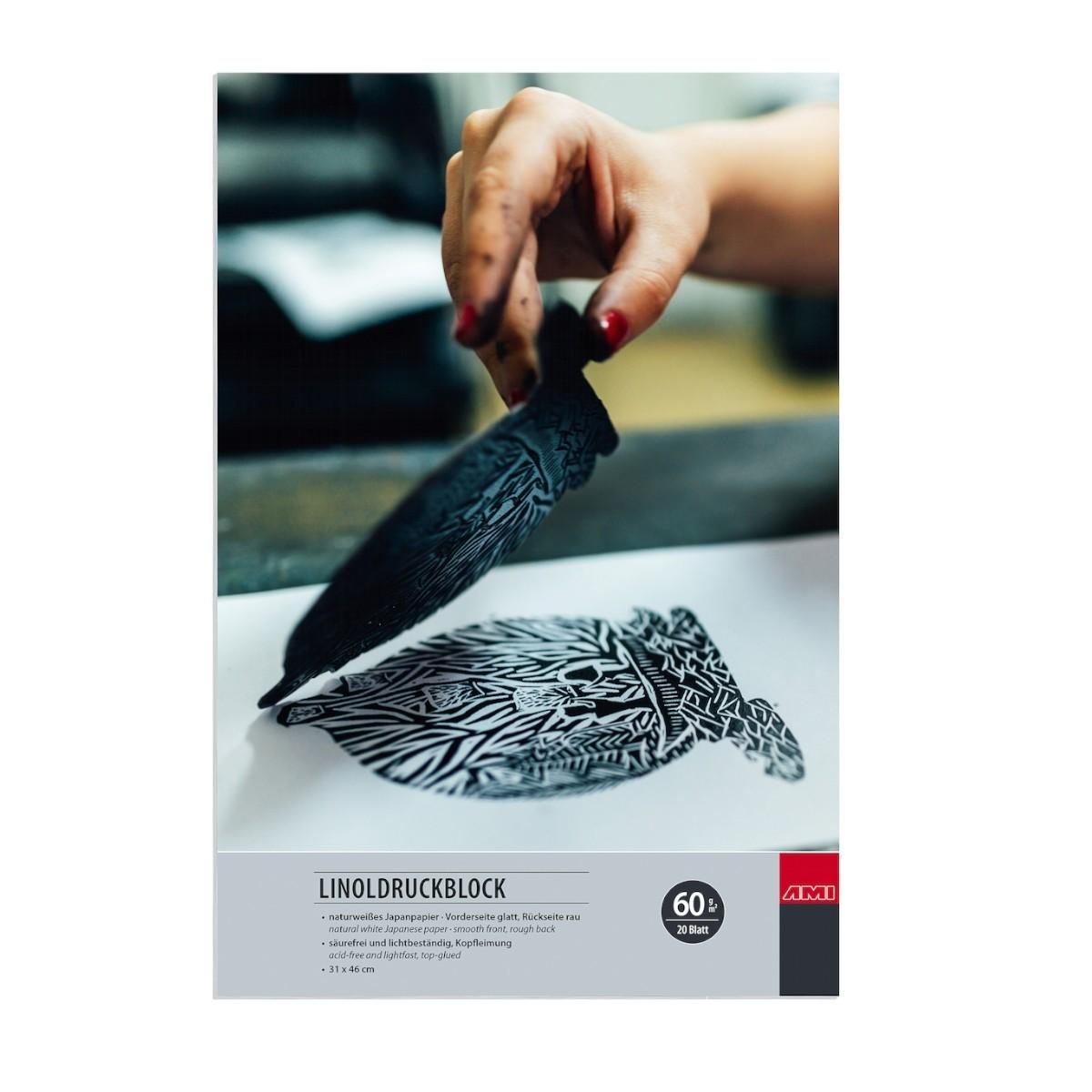 Linoprint japanpapir, blok, 60 g, 20 ark