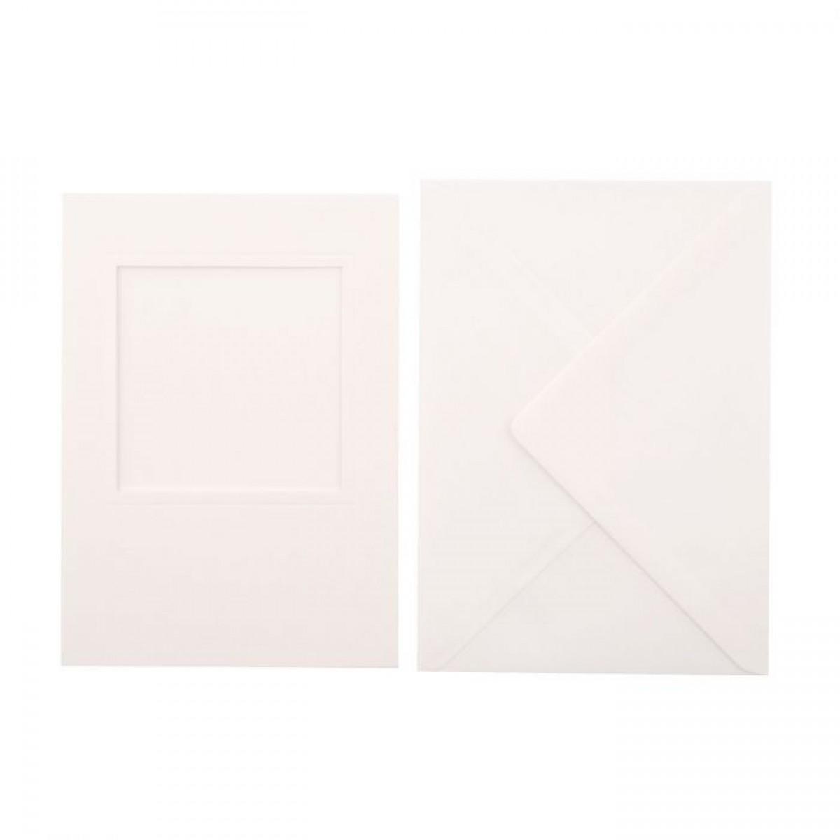 Passepartout kort og kuvert, A6, 5 stks