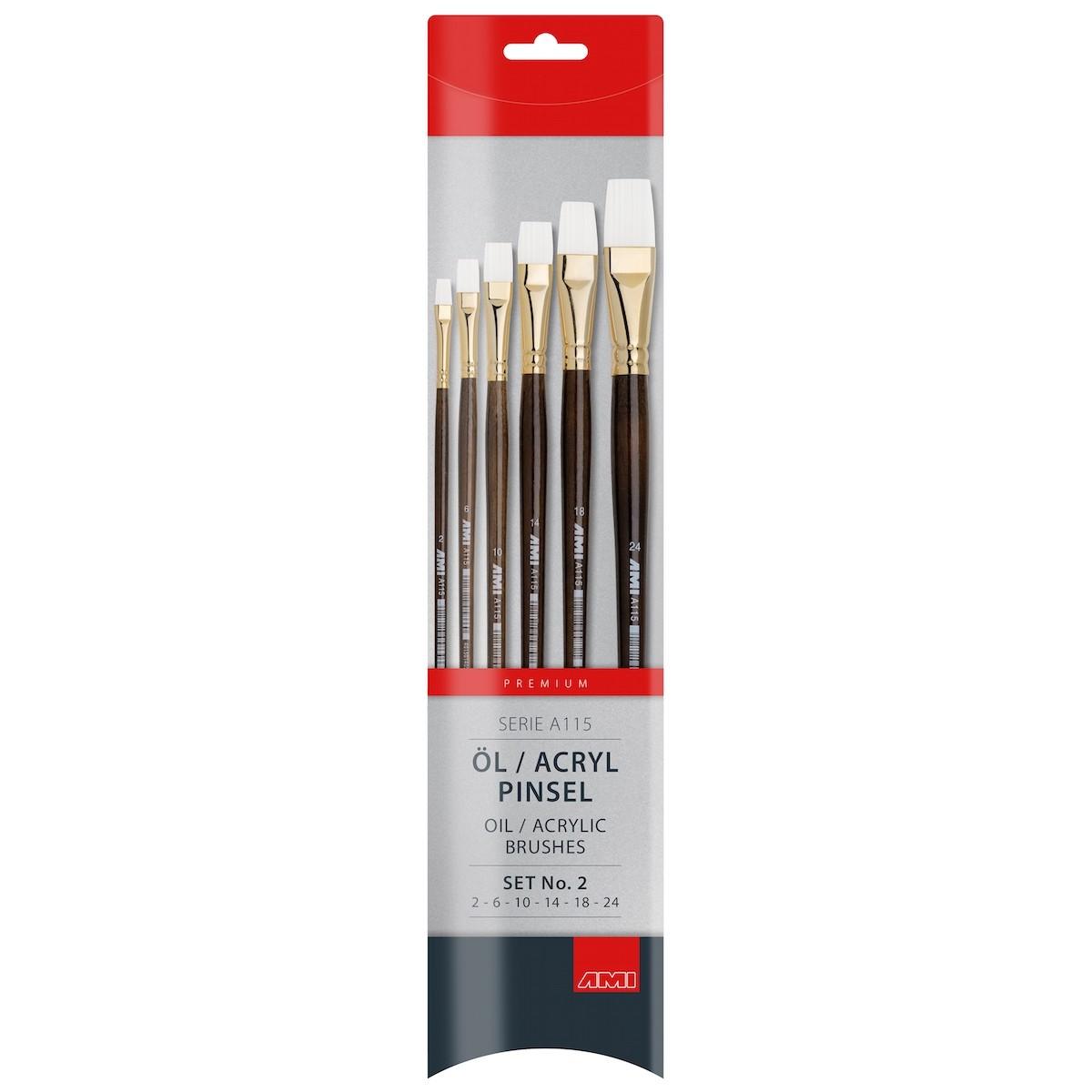 Flad pensel, syntetisk, sæt, A115-2