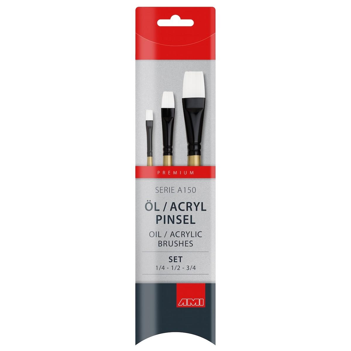 Flad pensel, syntetisk, sæt, A150