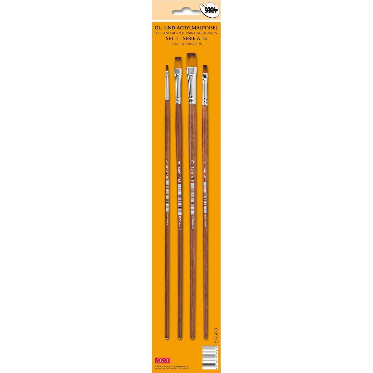 Flad pensel, syntetisk, sæt, A15