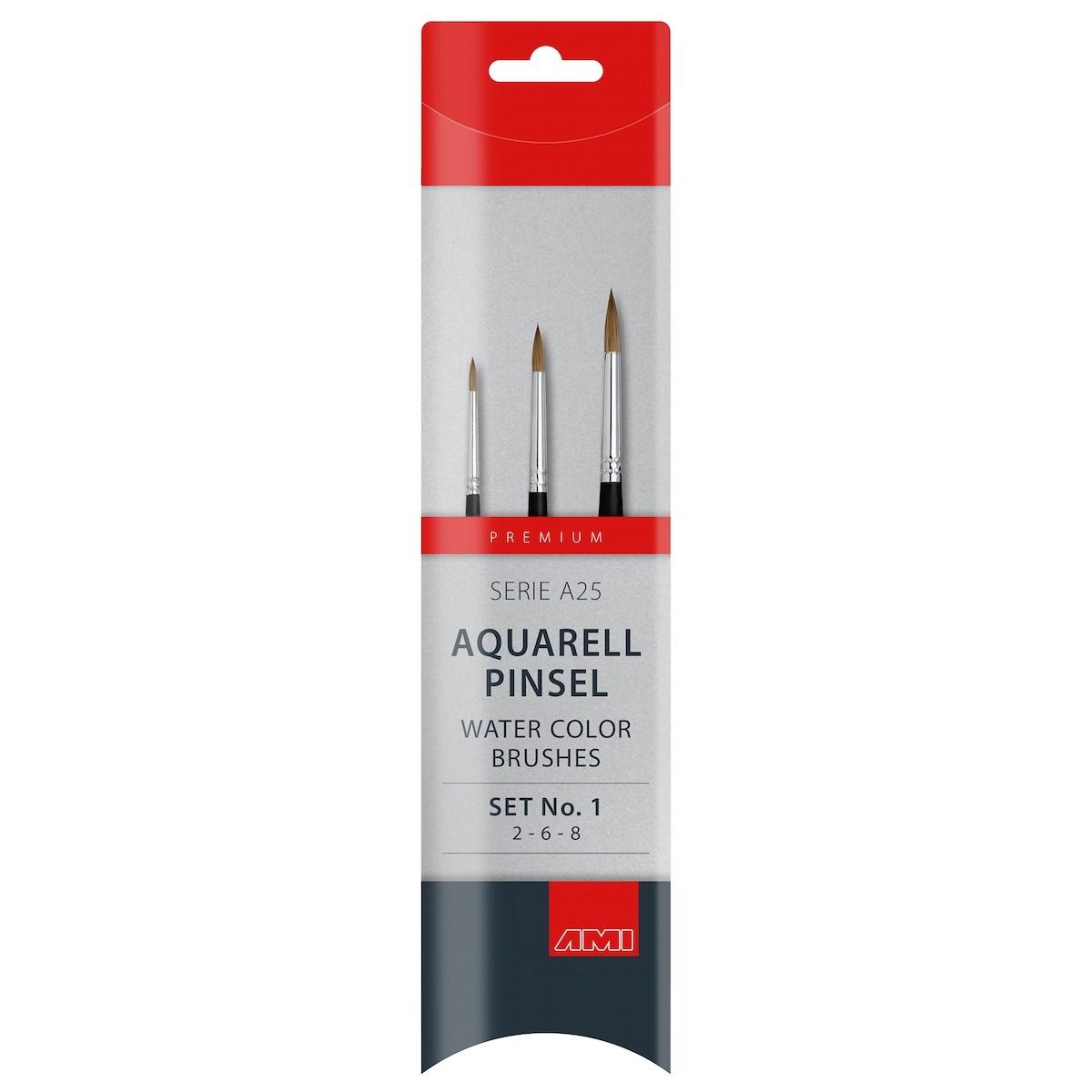 Akvarel pensel, mårhår, sæt, A25