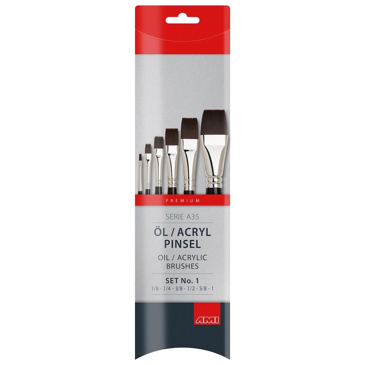 Flad pensel, syntetisk, sæt, A35