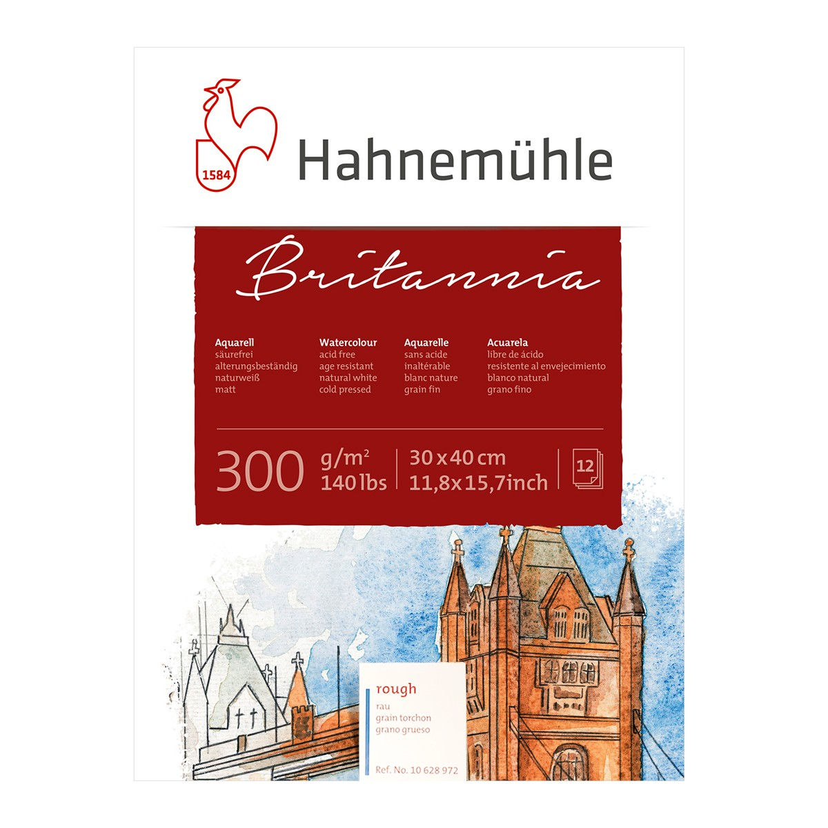Hahnemühle Britannia Akvarel blok, Rough, 30x40cm., 300gr.