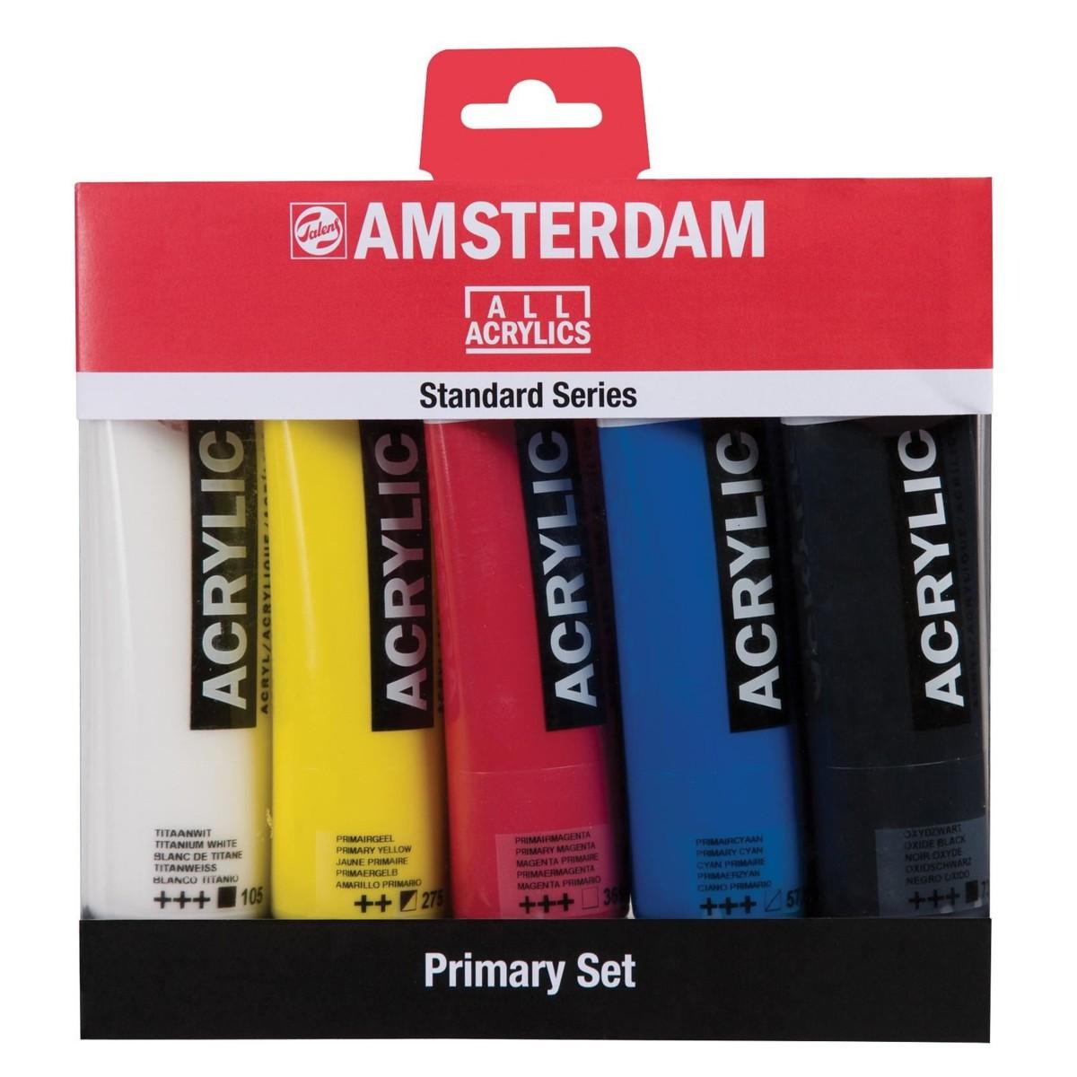 Amsterdam, akrylmaling, primary set, 120 ml, 5 stk
