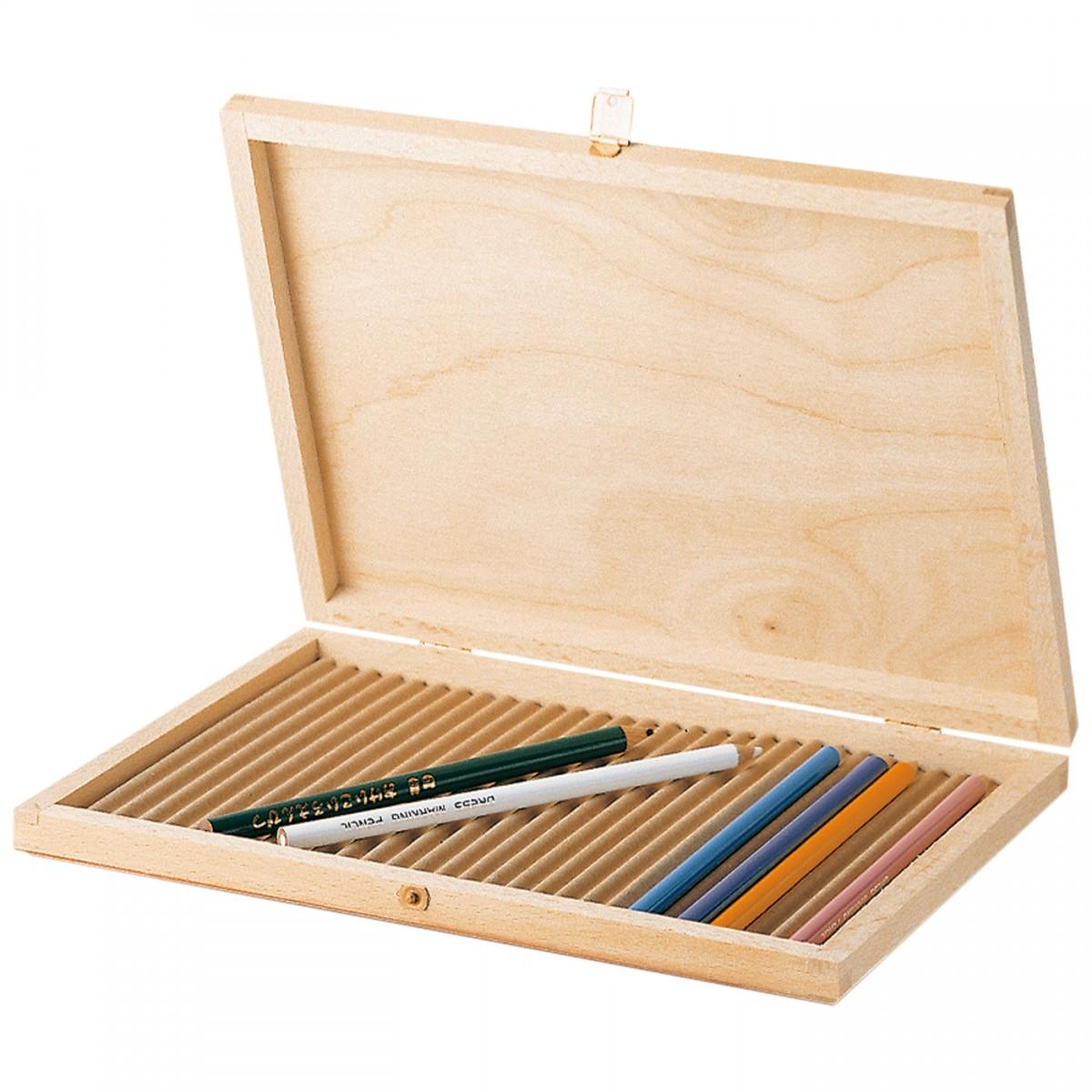 Trækasse, blyant opbevaring (tom)