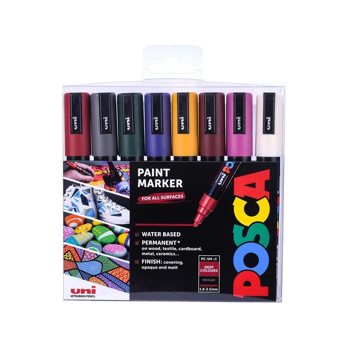 POSCA, PC-5M Medium, Deep colours sæt, 8 stk