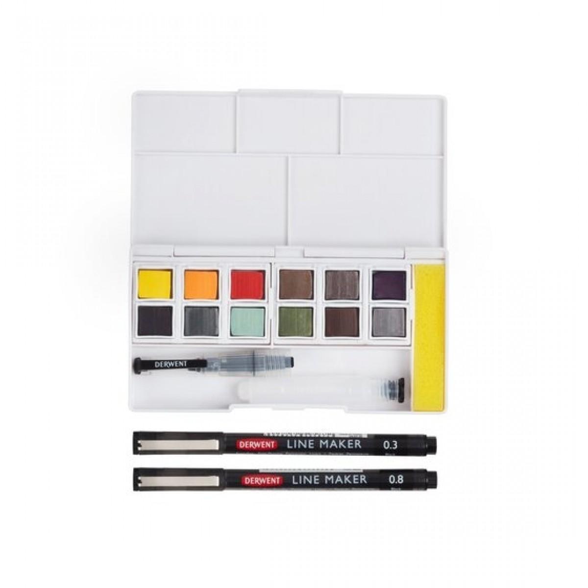 Derwent, akvarelsæt, line and wash paint pan set