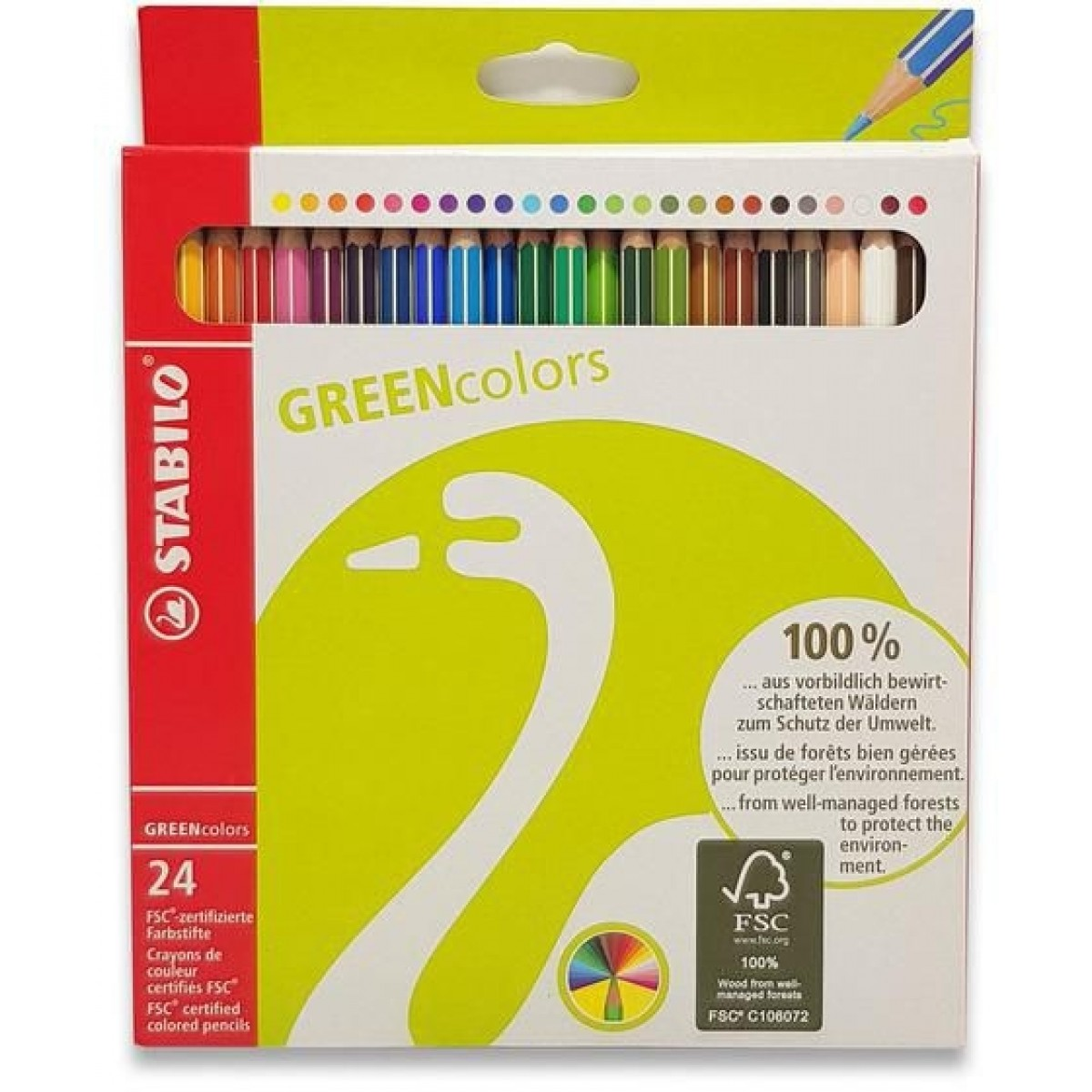STABILO, Green colors farveblyanter, 24 stk