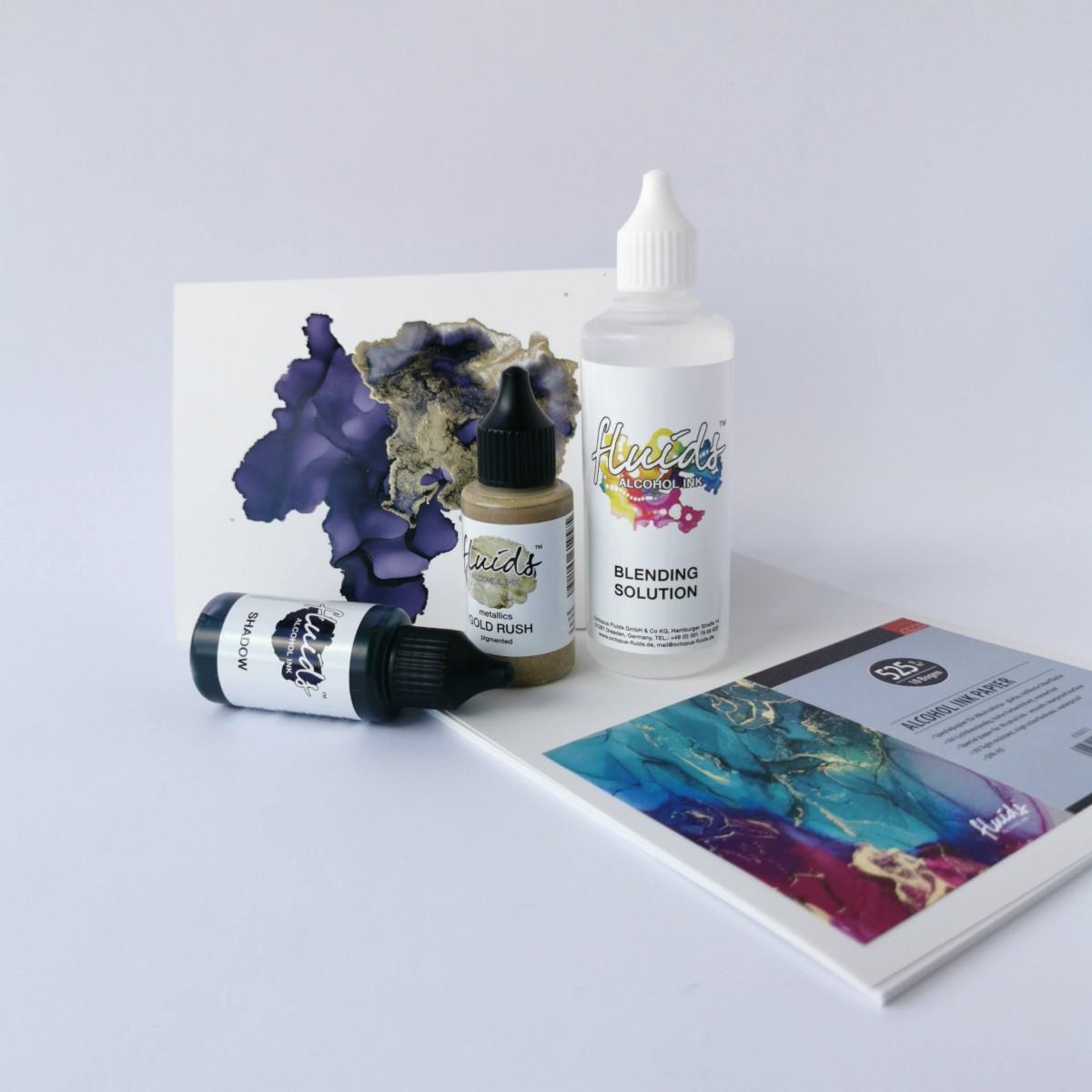 Gavesæt - Alkohol, Octopus fluids alkohol ink + papir m.m.