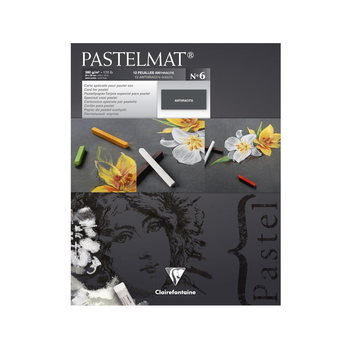 Clairefontaine,Pastelmat pastelpapir, blok, 360g, 12 ark, antracit