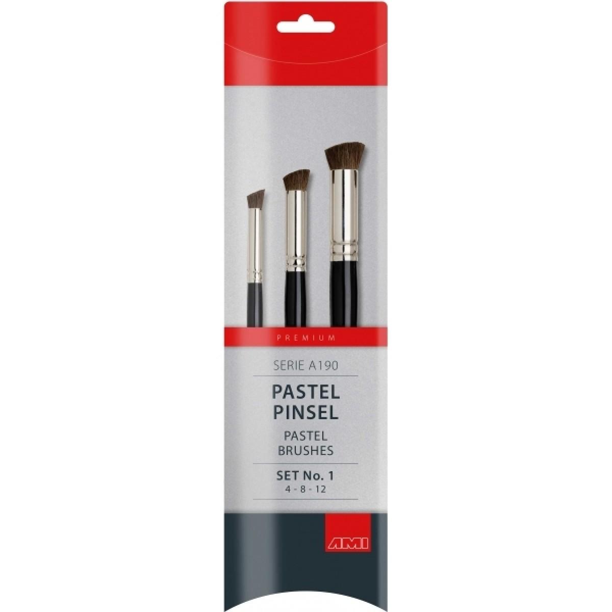 Pastel pensel, hestehår, sæt, A190
