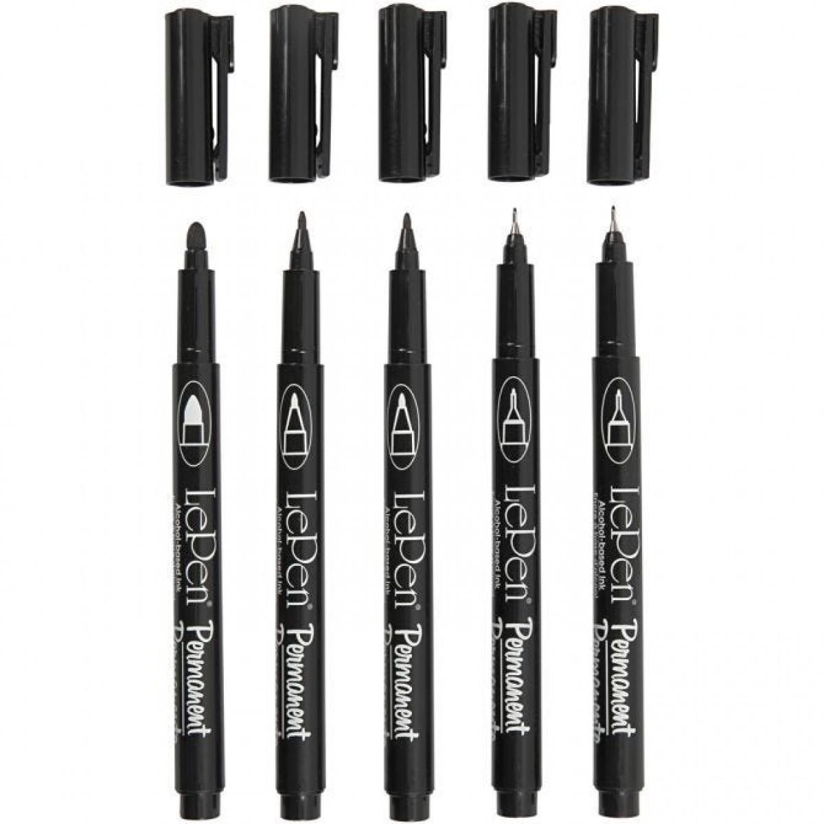 LePen, Permanent tusch pen, 5 stk., sort