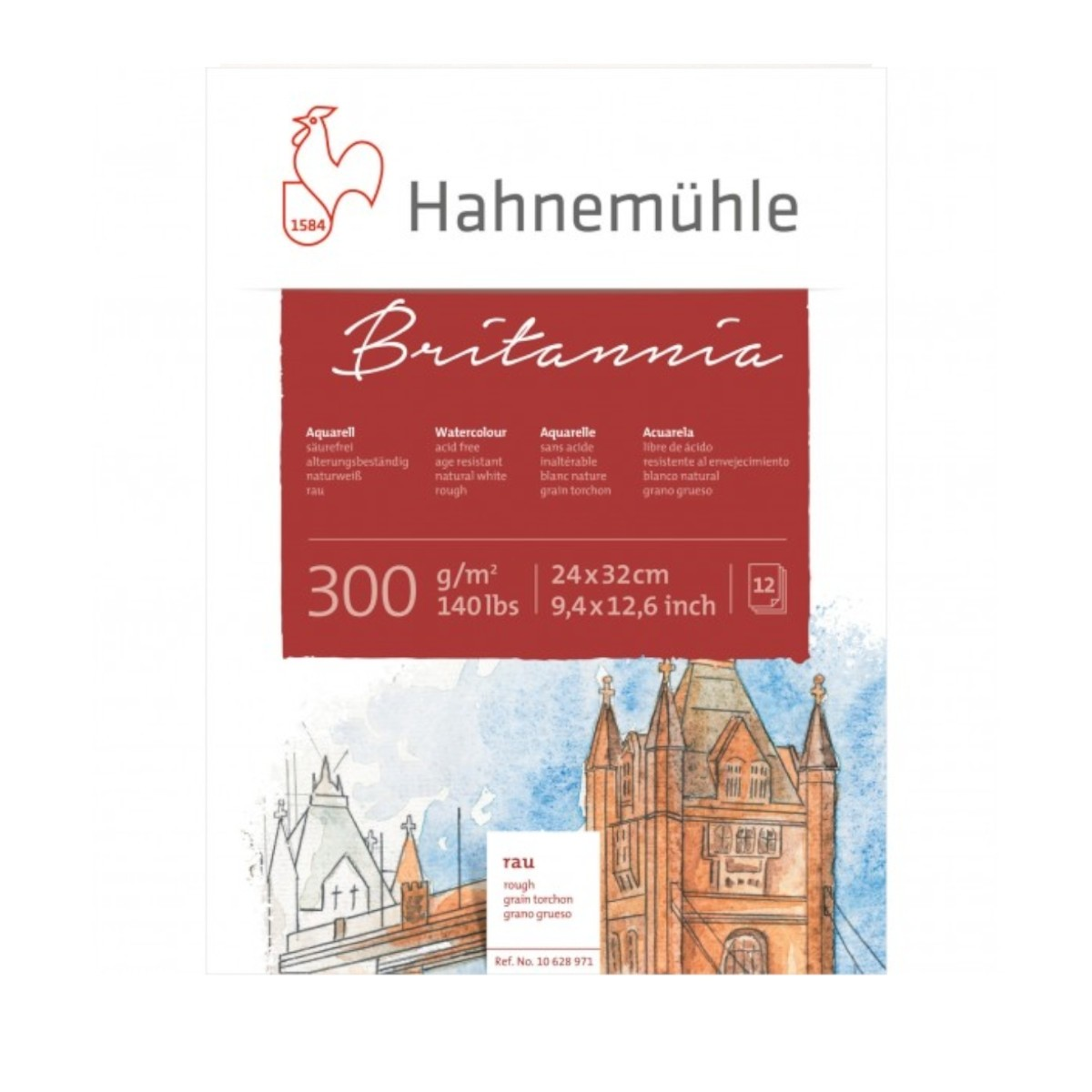 Hahnemühle Britannia Akvarel blok, rough, 24x32cm., 300gr.