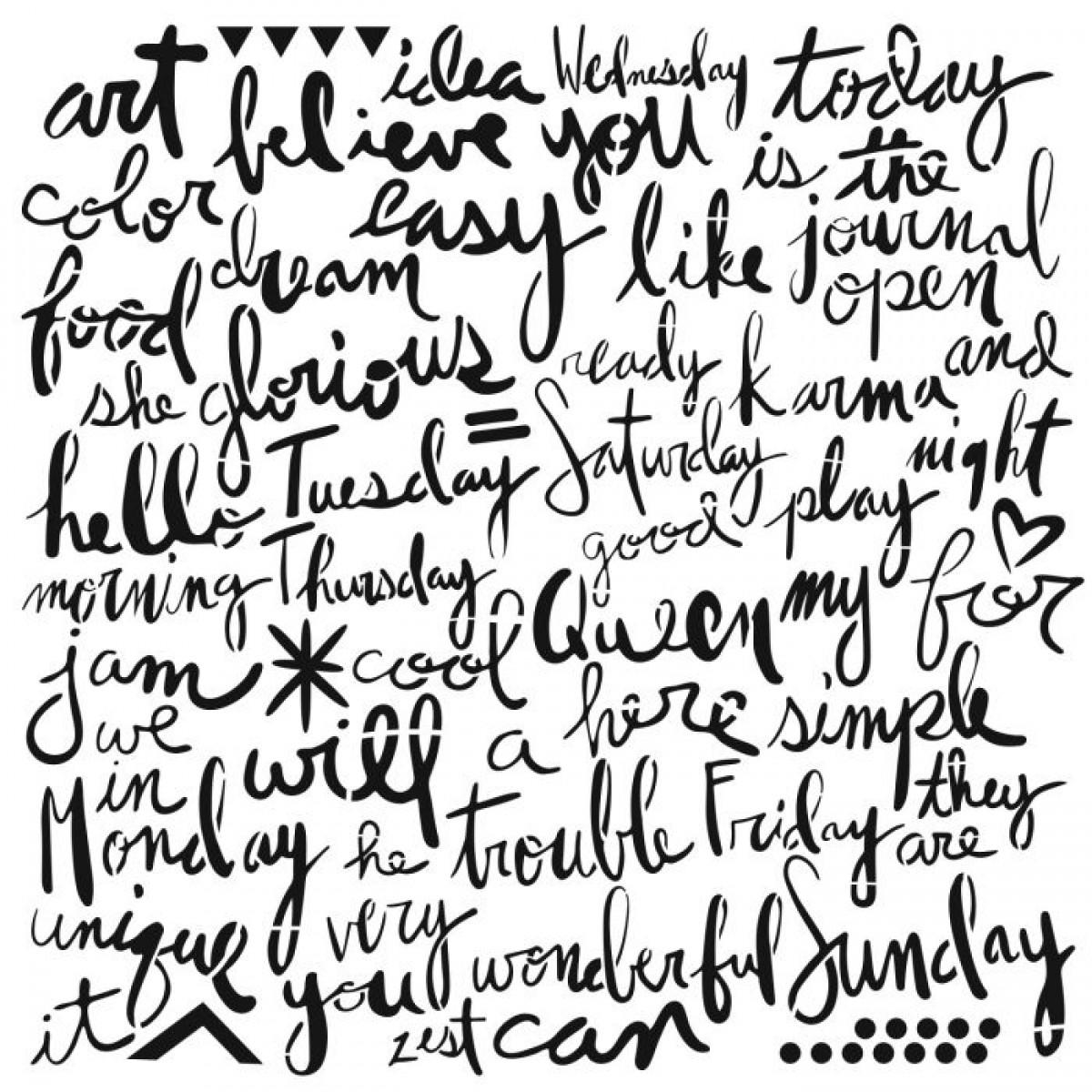 TCW, Stencil, 30x30, Script Words