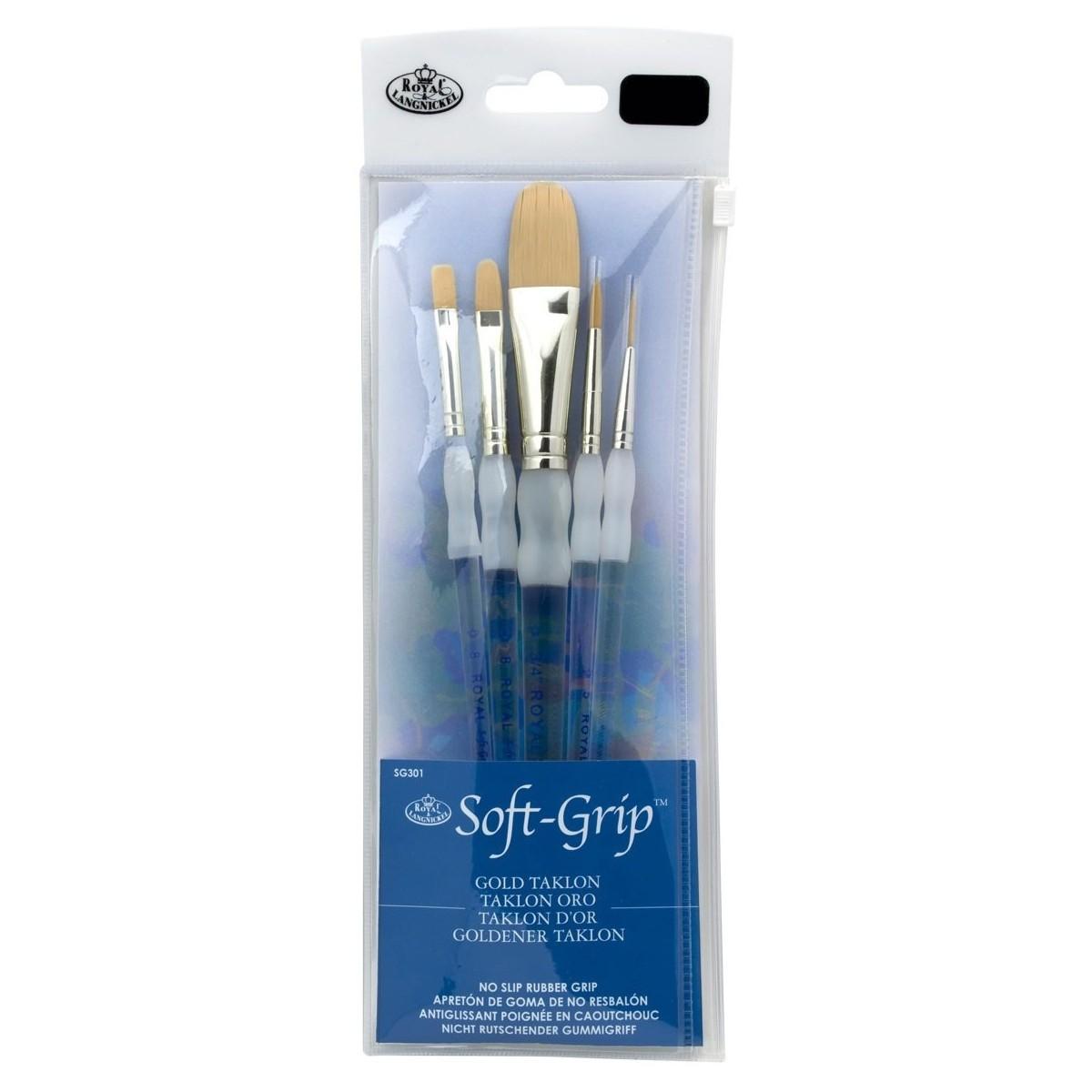 Royal Langnicker, Soft grip pensel, syntetisk, sæt, golden