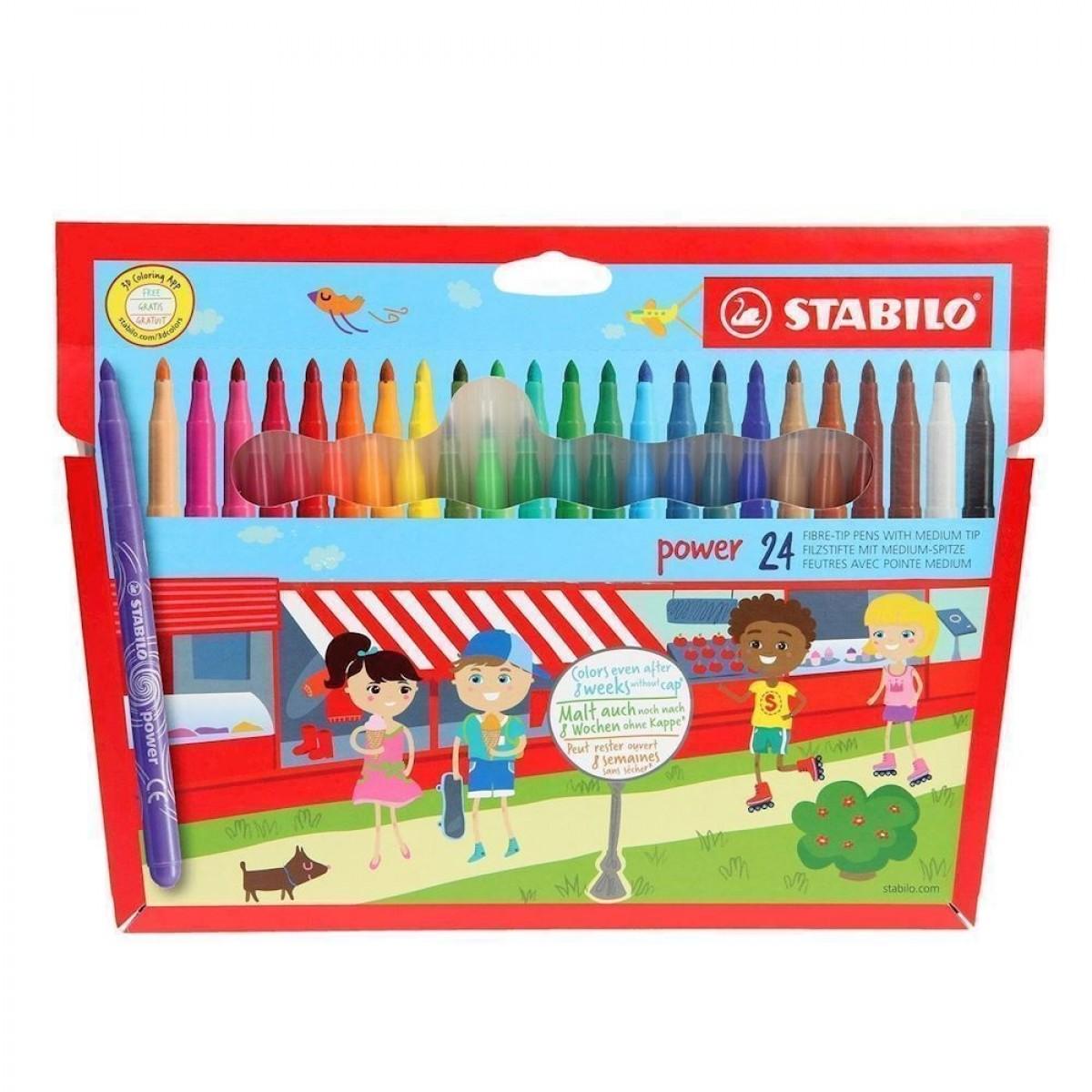 STABILO, Fibre - tip pens, børne tusser, 24 stk