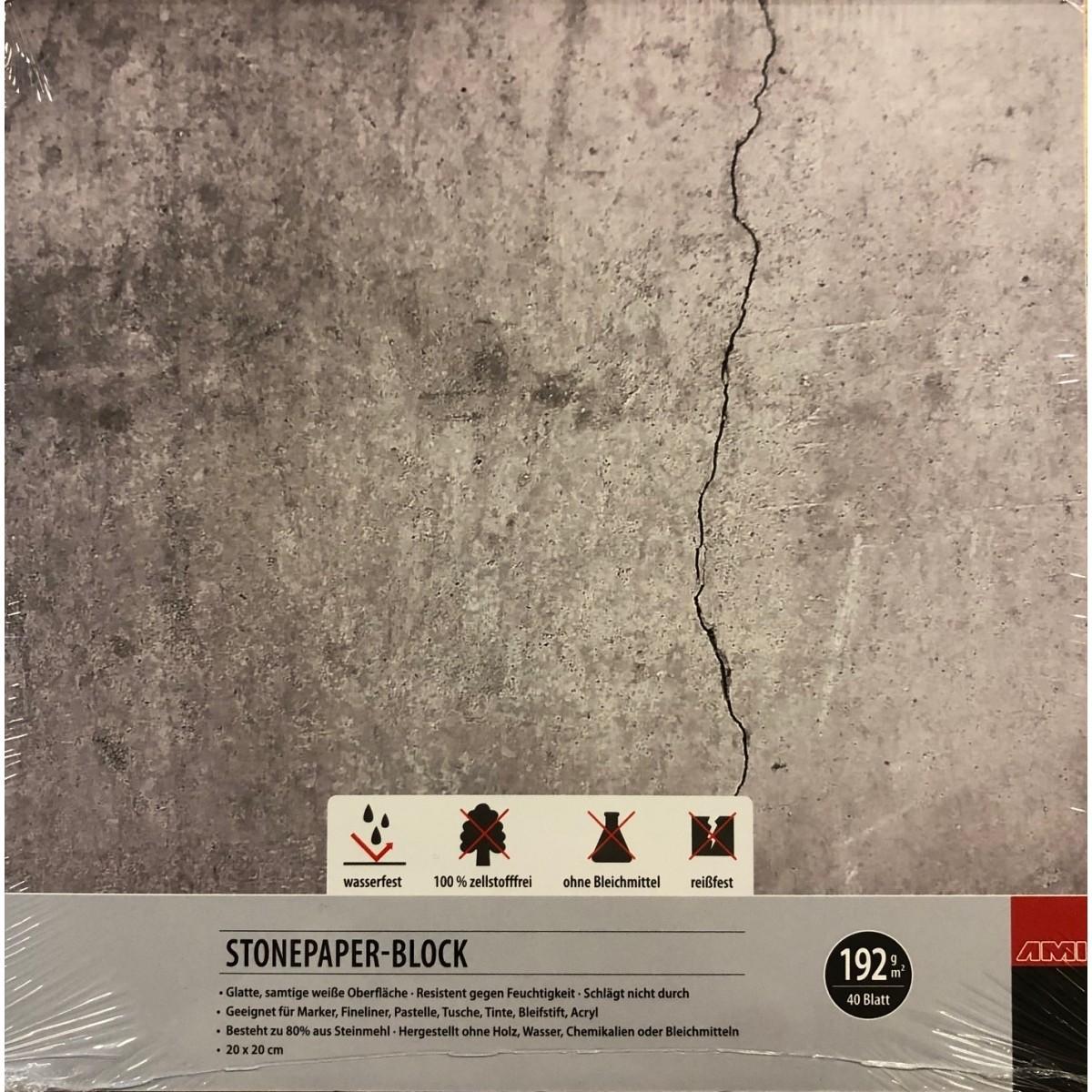 Stonepaper, syntetisk blok, 192g, 40 ark