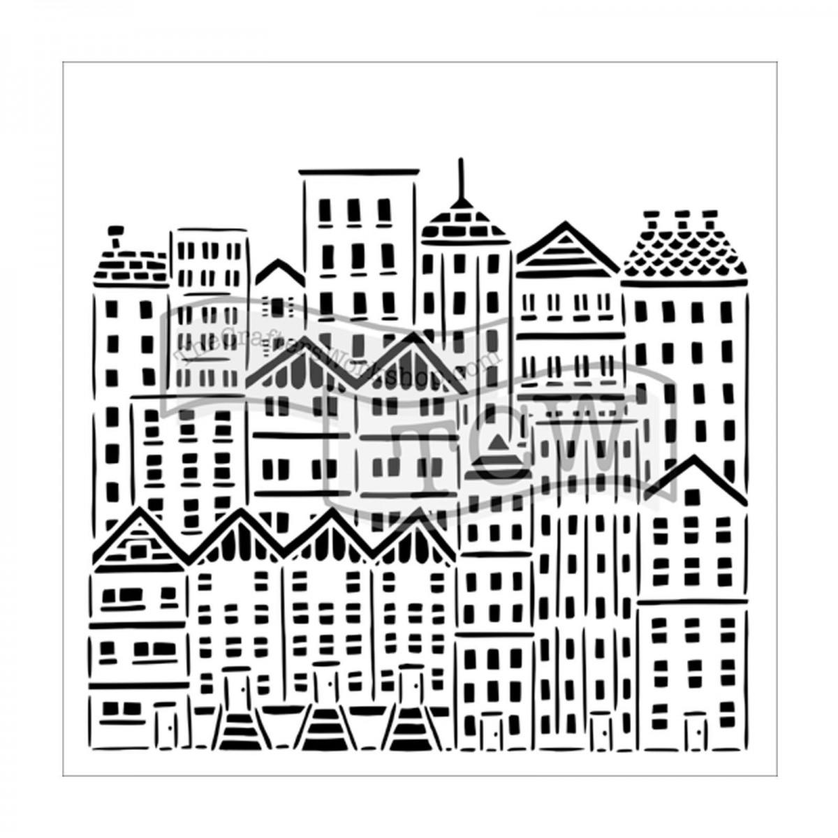 TCW, Stencil, 30x30, City Buildings