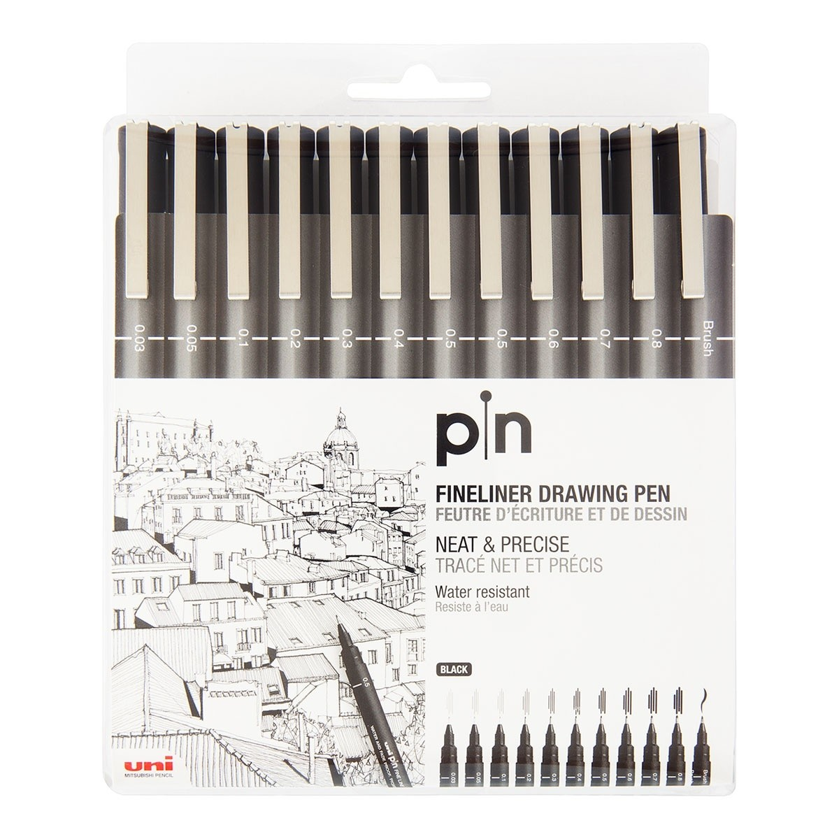 Uni Pin fineliner pen, 12 stk, sort