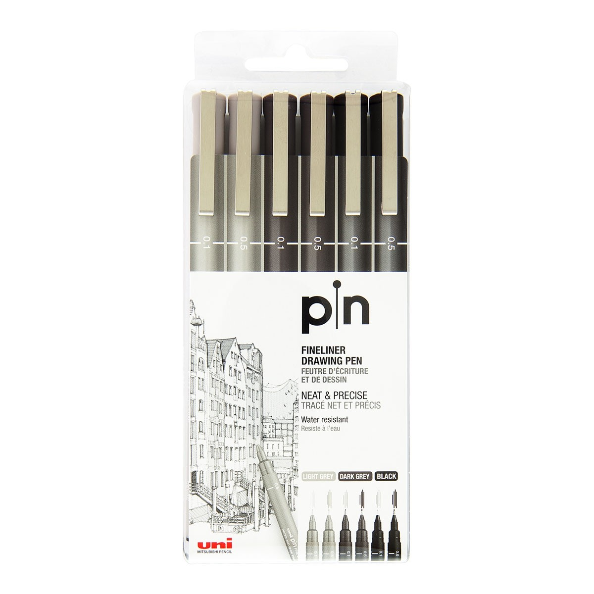 Uni Pin fineliners, 6 stk., lysegrå, mørkegrå og sort, 0,1 og 0,5 mm