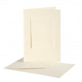 Passepartout kort med kuvert, A6, 10,5x15 cm, 10 stk.