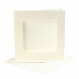 Passepartout kort med kuvert, 12,5x12,5 cm, 10 stk.