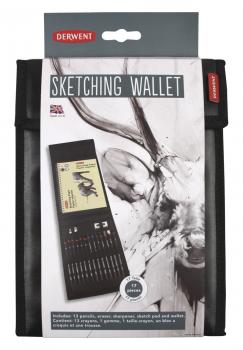 Derwent Sketching Wallet, tegnesæt med div. blyanter, 17 dele
