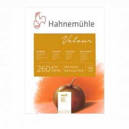 Hahnemühle Velour blok, 24x32cm., hvidt, 10 ark, 260gr.