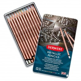 Derwent Metallic farveblyanter, 12 stk, tin