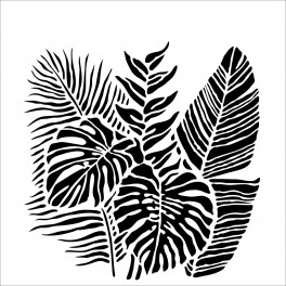 TCW, Stencil, 30x30, Tropical Fronds