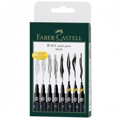 Faber Castell, India ink Pitt Artist Pen, 8 stk. sort