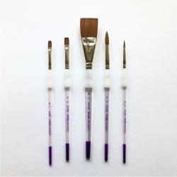 Royal Langnicker, Soft grip pensel, syntetisk, sæt, brown