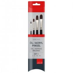 Filbert pensel, syntetisk, sæt, A55