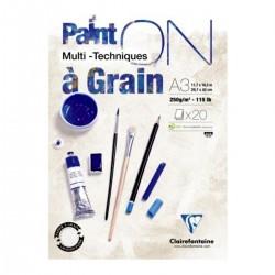 Clairefontaine, Paint ON, Grain, blok, 20 ark