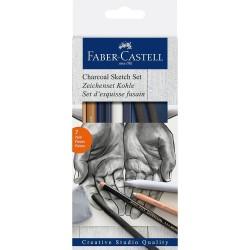 Faber Castell , Tegnesæt, Kul Sketch sæt, 7 stk
