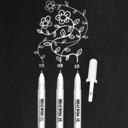 Gelly Pen, Sakura, hvid, 3 tykkelser