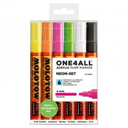 Molotow ONE4ALL 4mm, Neon sæt, 6 stk