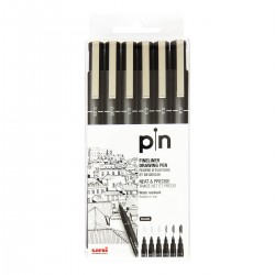 Uni Pin fineliners, 6 stk., sort