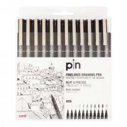 Uni Pin fineliner pen, 12 stk, sort