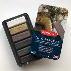 Derwent, XL Charcoal, kul sæt med 6 farver, tinbox